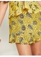 Koton Desenli Mini Etek Sarı